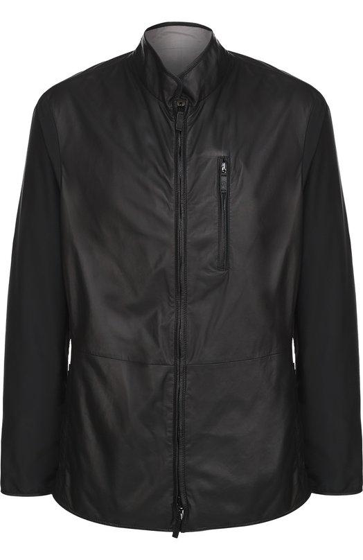 Двусторонняя кожаная куртка на молнии с воротником-стойкой Giorgio Armani VSB02P/VSP21