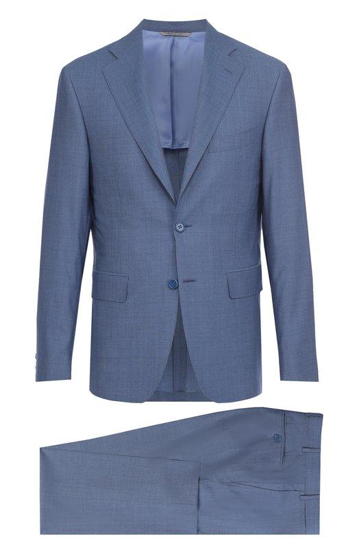 Шерстяной приталенный костюм с пиджаком на двух пуговицах Canali BF01056/25280/50
