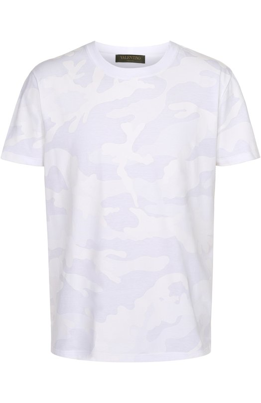 Хлопковая футболка с камуфляжным принтом Valentino MV3MG00W/3MB