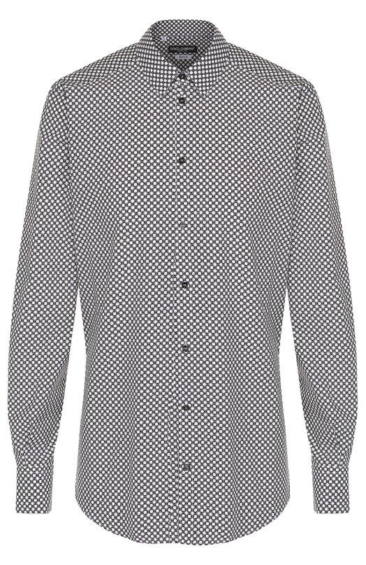 Хлопковая сорочка с принтом Dolce & Gabbana 0101/G5DY4T/FS52D