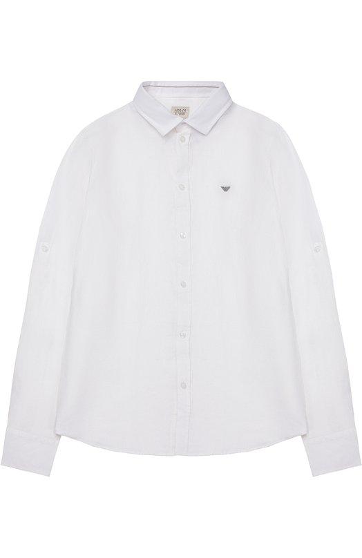 Рубашка из льна с логотипом бренда Giorgio Armani 3Y4C16/4NDPZ/11A-16A
