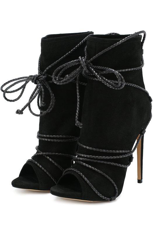 Купить Замшевые ботильоны Liza New с декоративной шнуровкой Aleksandersiradekian, LIZA NEW/SUEDE, Италия, Черный, Стелька-кожа: 100%; Подошва-кожа: 100%; Замша натуральная: 100%;