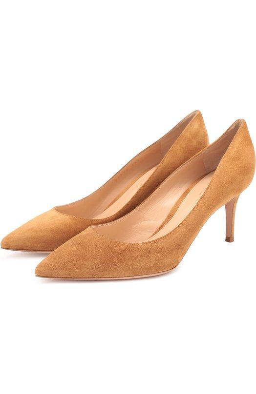 Купить Замшевые туфли Classic на шпильке Gianvito Rossi, G26770.70RIC.CAM, Италия, Коричневый, Стелька-кожа: 100%; Подошва-кожа: 100%; Замша натуральная: 100%;