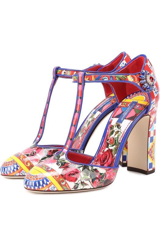 Туфли Vally с принтом на устойчивом каблуке Dolce & Gabbana 0112/CD0705/AG147