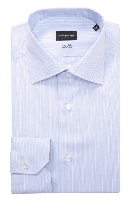 Хлопковая сорочка с воротником кент Ermenegildo Zegna 8011229MS0BR