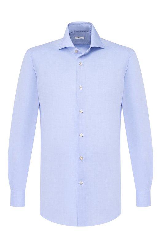 Хлопковая сорочка с воротником акула Kiton UCIDCCP2/H0003103