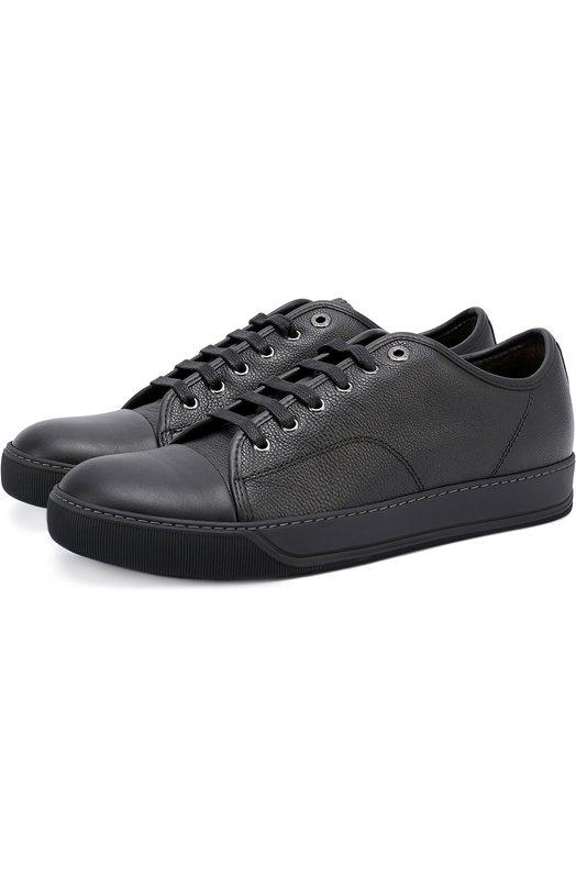 Купить Кожаные кеды на шнуровке Lanvin, FM-SKDBB1-TGLE-A16, Португалия, Черный, Кожа натуральная: 100%; Стелька-кожа: 100%; Подошва-резина: 100%; Подкладка-кожа: 100%; Кожа: 100%;