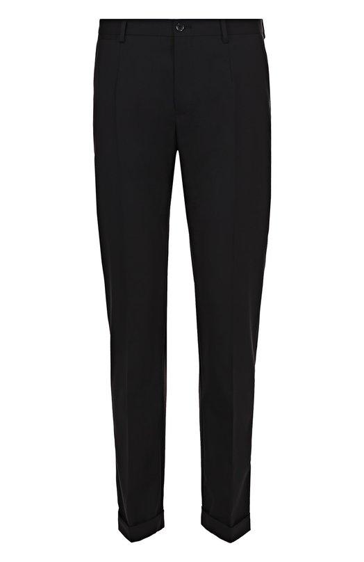 Купить Шерстяные брюки прямого кроя Dolce & Gabbana, 0101/G6WUET/FUBBG, Италия, Черный, Шерсть: 97%; Эластан: 3%; Подкладка-вискоза: 100%;