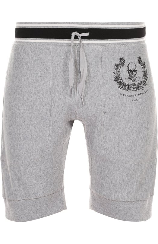 Хлопковые шорты с принтом и контрастной отделкой Alexander McQueen 449515/QIZN6