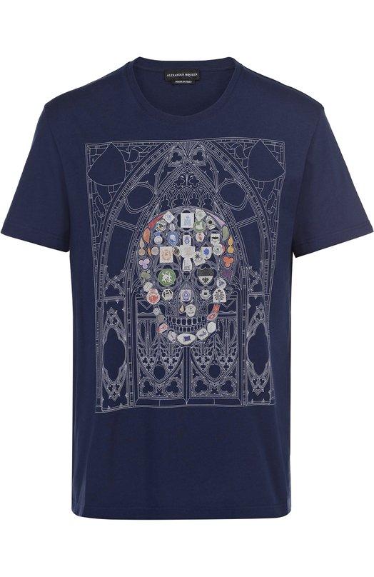 Хлопковая футболка с принтом Alexander McQueen 453146/QIZT8