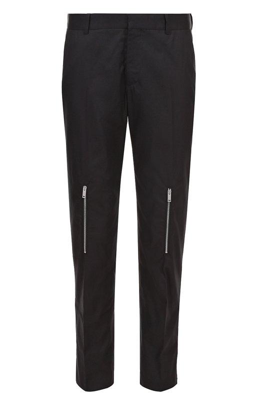Хлопковые брюки прямого кроя с декоративными молниями Alexander McQueen 449556/QIS11