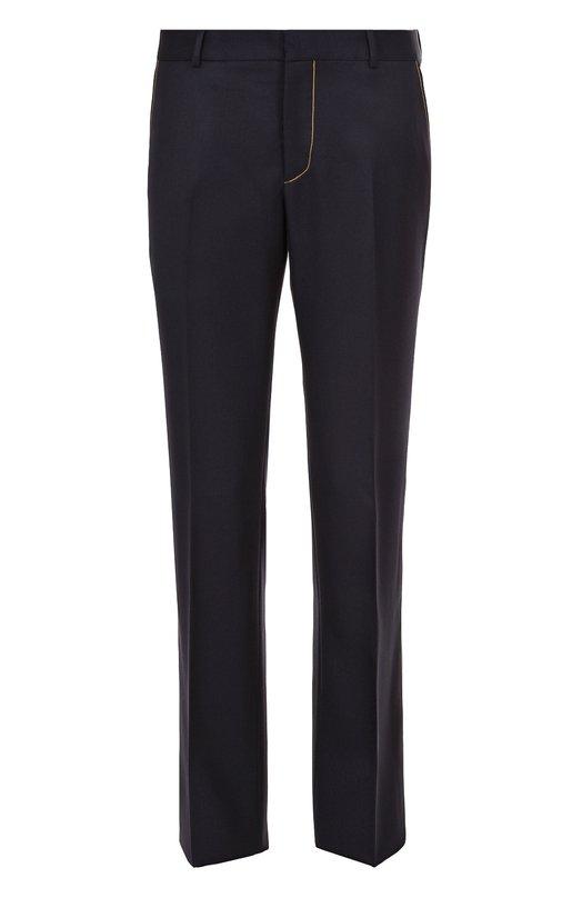 Шерстяные брюки прямого кроя с контрастной отделкой Alexander McQueen 452433/QIU16