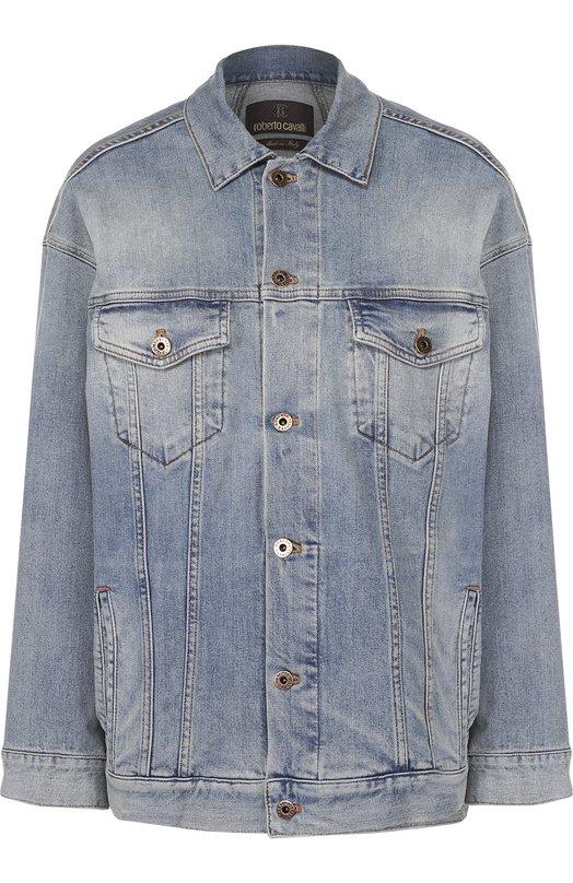 Джинсовая куртка прямого кроя с накладными карманами Roberto Cavalli EQJ410/DS002