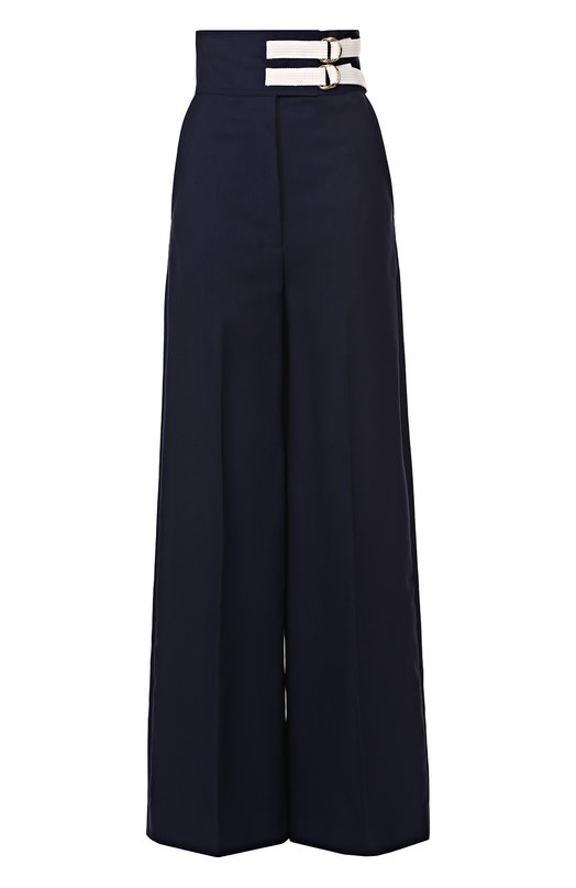 Широкие брюки с завышенной талией и контрастной отделкой Marni PAMAV10JQUTW745