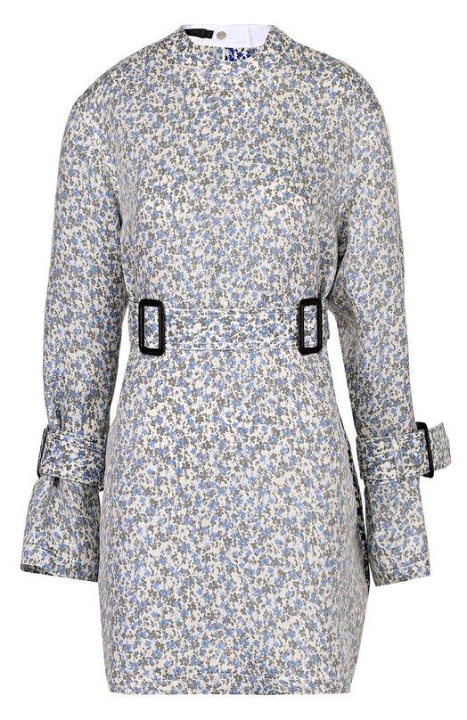 Шелковая блуза свободного кроя с поясом и цветочным принтом Calvin Klein Collection W71T061/WS019