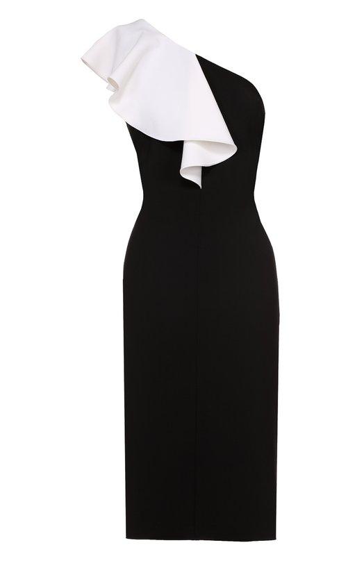 Купить Платье-футляр с открытым плечом и контрастной оборкой Saint Laurent, 454335/Y012P, Франция, Черный, Полиамид: 9%; Шерсть: 89%; Эластан: 2%; Подкладка-шелк: 100%;