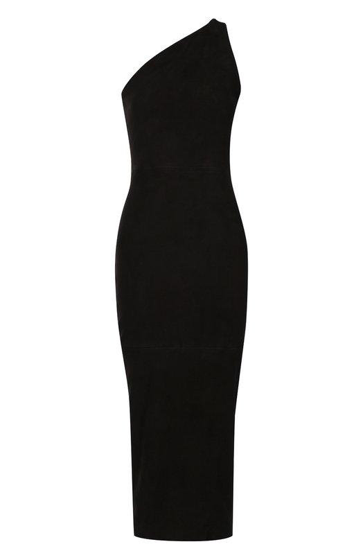 Платье-футляр с открытым плечом и декоративной молнией на спинке Balmain 3331/281P