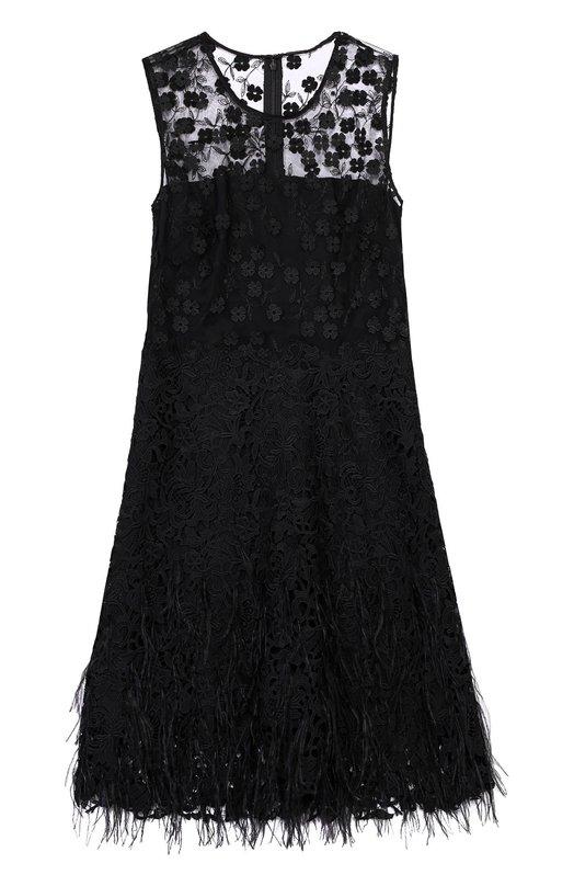 Кружевное мини-платье с декоративной отделкой и перьями Elie Tahari EN069606