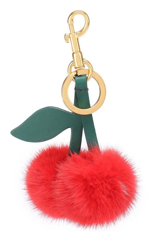 Кожаный брелок Cherry с отделкой из меха Anya Hindmarch 5050925942027