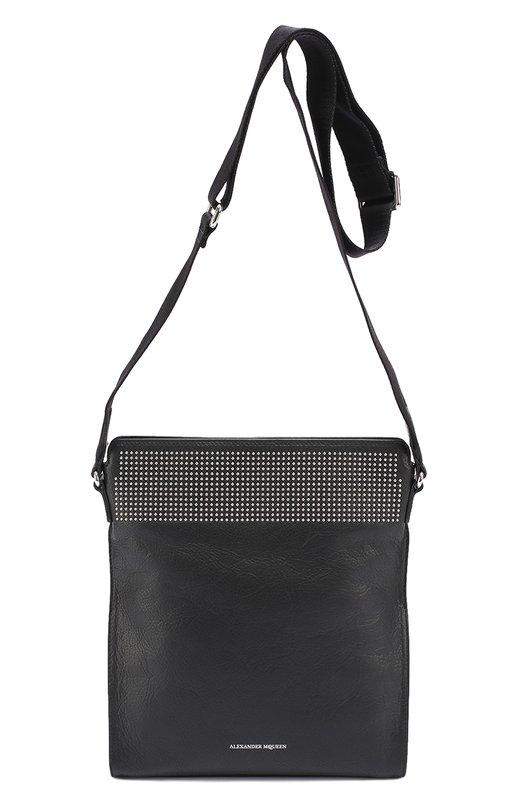 Кожаная сумка-планшет с декоративной отделкой заклепками Alexander McQueen 430487/CNDGN