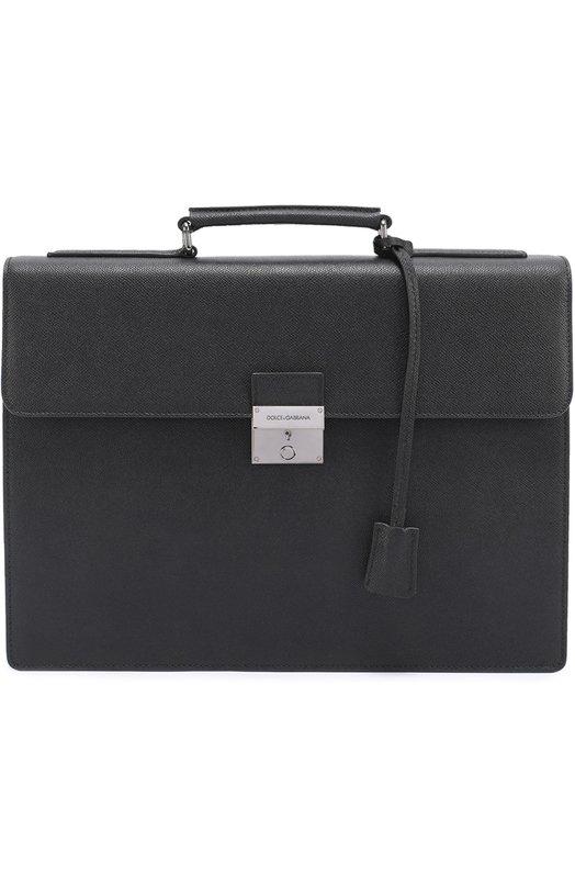 Кожаный портфель с замком Dolce & Gabbana