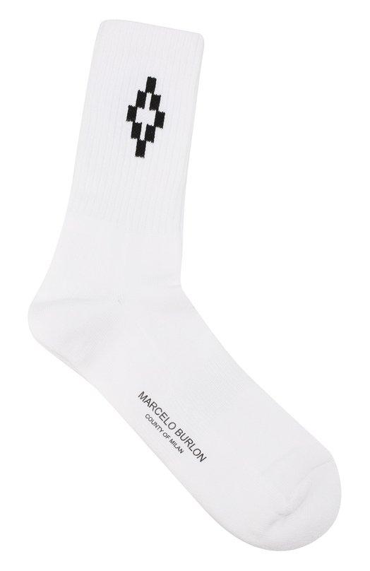 Хлопковые носки с контрастной отделкой Marcelo Burlon CMRA003S17096129