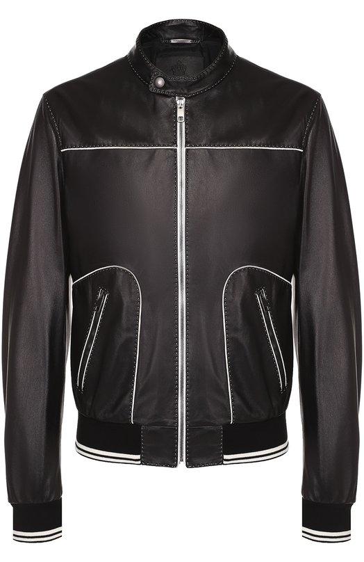 Кожаный бомбер с контрастной отделкой Dolce & Gabbana 0101/G9HM6L/FUL8N