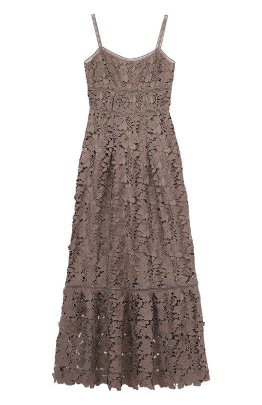 Кружевное платье-макси на тонких бретельках Elie Tahari E6004606