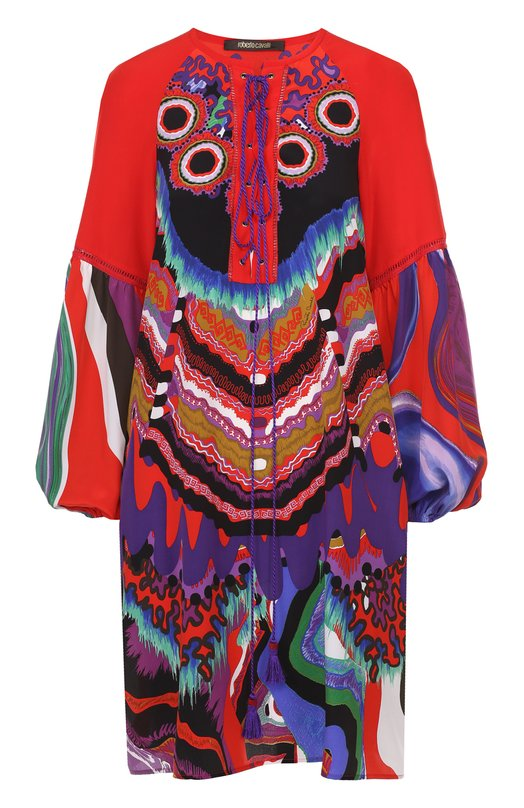 Шелковая туника с ярким принтом и декоративной шнуровкой Roberto Cavalli EQT104/SQB43