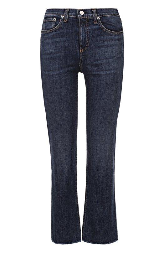 Купить Укороченные джинсы с завышенной талией и потертостями Rag&Bone, W1748K510RYA, США, Синий, Хлопок: 98%; Полиуретан: 2%;