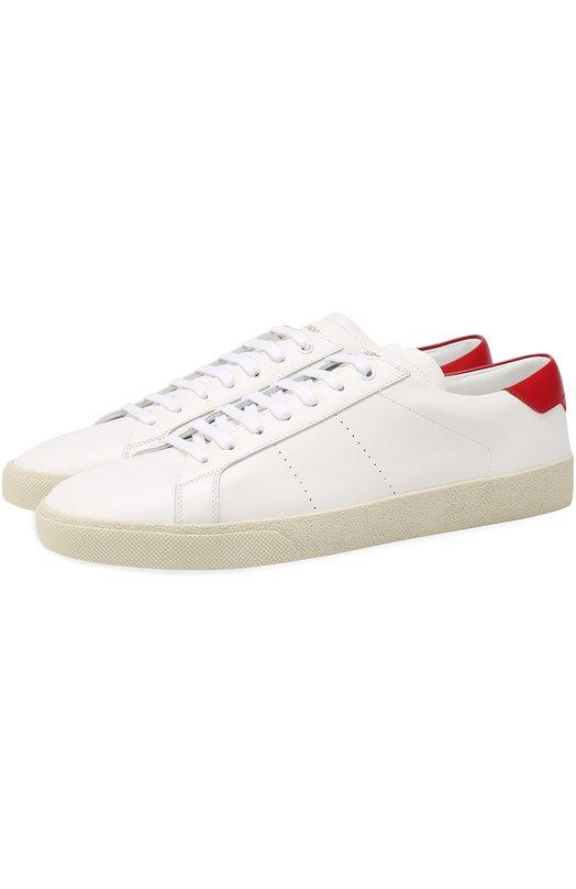 Кожаные кеды Court Classic на шнуровке Saint Laurent 421570/CN440
