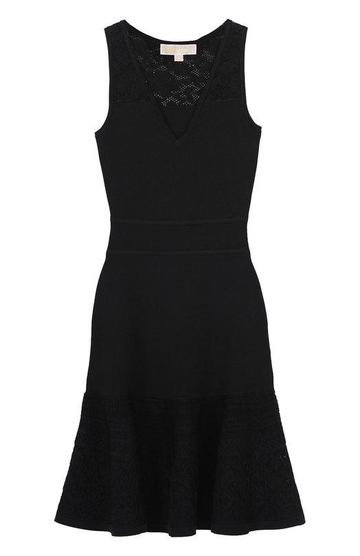 Приталенное кружевное платье с V-образным вырезом MICHAEL Michael Kors MH68WP45ZV