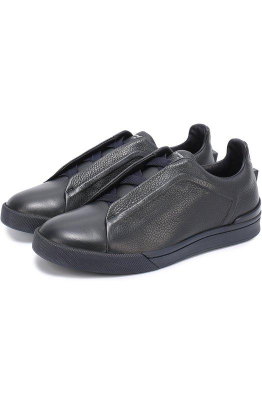 Кожаные кеды на шнуровке с декоративной отделкой задника Ermenegildo Zegna A2511XVAL