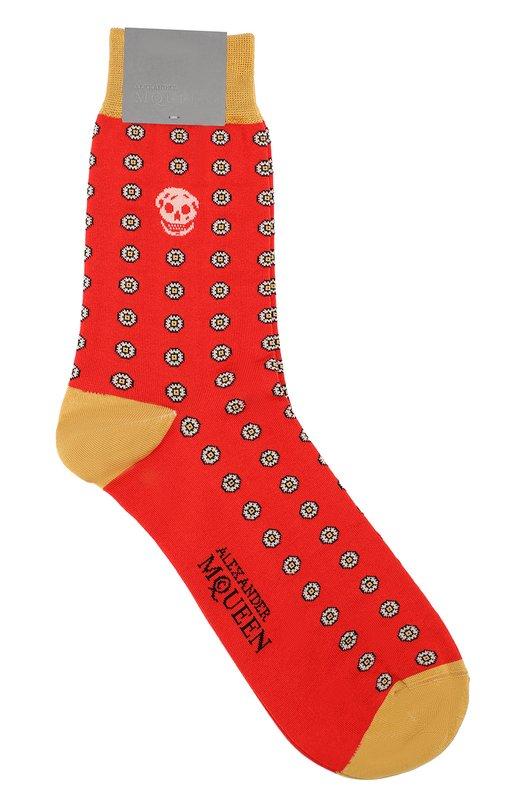 Хлопковые носки с цветочным узором Alexander McQueen 451611/4900Q