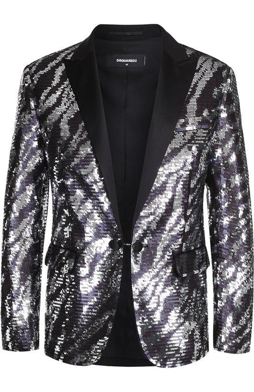 Хлопковый пиджак с вышивкой пайетками Dsquared2 S74BN0695/STN673