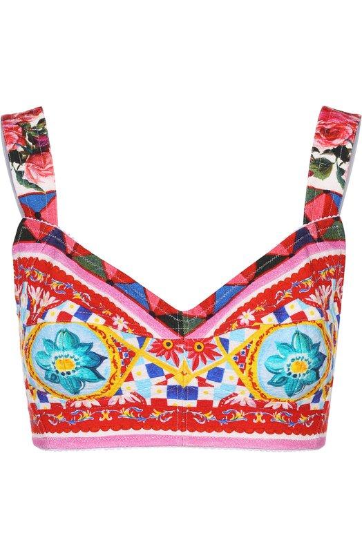Топ-бюстье с ярким принтом Dolce & Gabbana 0102/F7Y28T/GDD17
