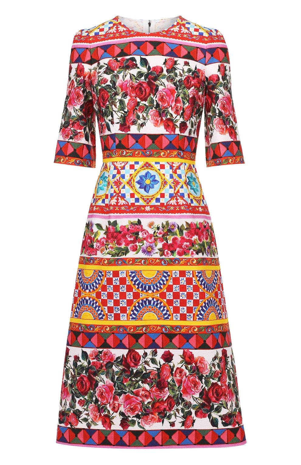 Платье с рукавом разноцветное