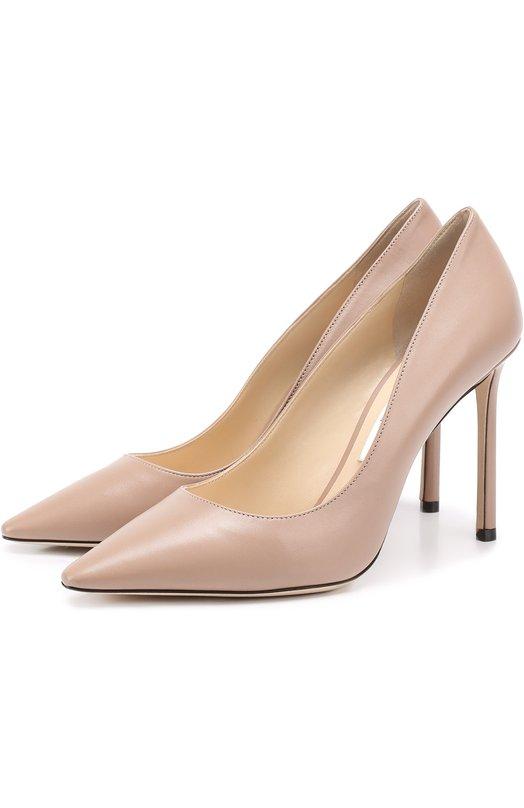 Купить Кожаные туфли Romy 100 на шпильке Jimmy Choo, R0MY 100/KID, Италия, Розовый, кожа: 100%; Кожа натуральная: 100%; Стелька-кожа: 100%; Подошва-кожа: 100%; Подкладка-кожа: 100%; Кожа: 100%; Низ-кожа: 100%;