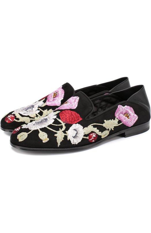 Замшевые лоферы с цветочной вышивкой Alexander McQueen 462235/WHIFA