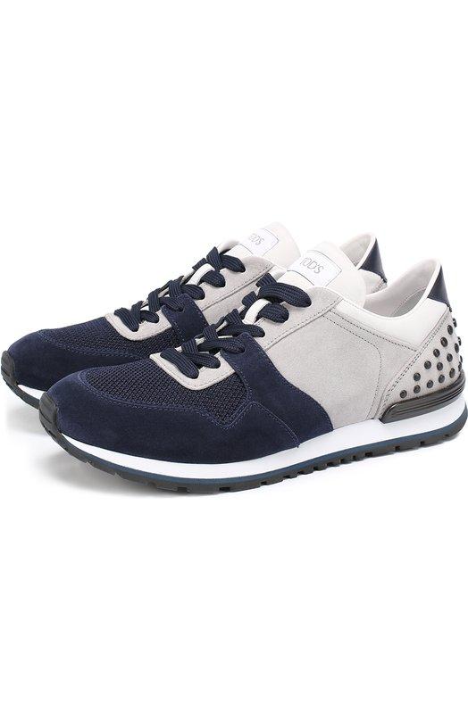 Замшевые кроссовки с текстильной вставкой Tod's XXM0XH0R011FZG
