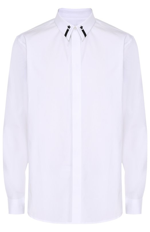 Хлопковая сорочка с контрастной вышивкой на воротнике Givenchy 17S/6035/300