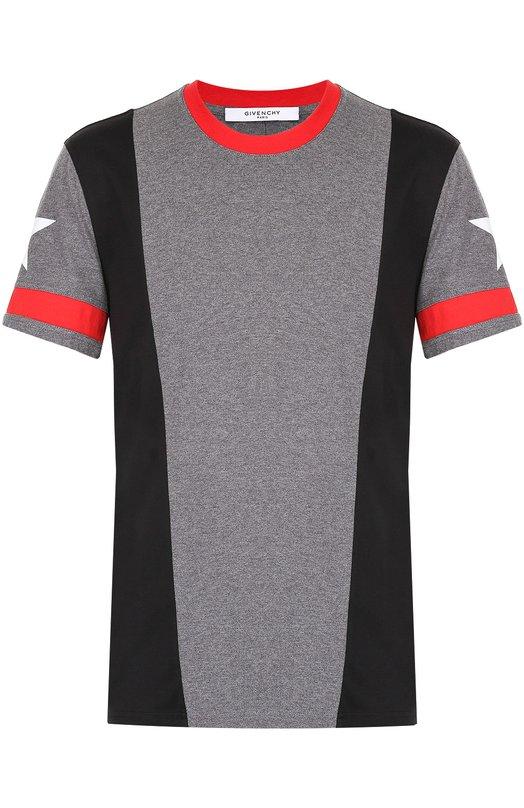 Хлопковая футболка с контрастной отделкой Givenchy 17S/7237/651