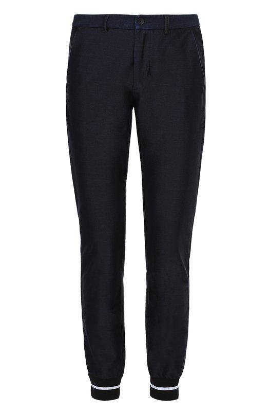 Купить Хлопковые брюки прямого кроя с манжетами на резинке Iceberg, I1P/B17B/4150, Италия, Темно-синий, Отделка-хлопок: 98%; Хлопок: 73%; Эластан: 7%; Полиэстер: 20%; Отделка-эластан: 2%;