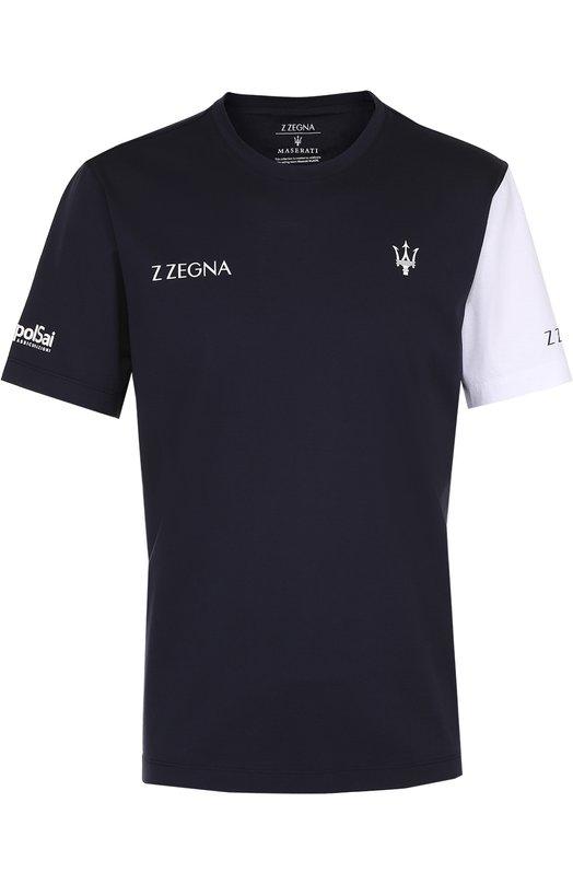 Хлопковая футболка с контрастной отделкой Z Zegna VM372ZZB630