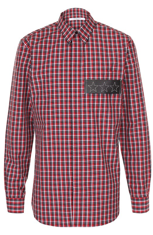Хлопковая рубашка в клетку с нашивкой из натуральной кожи Givenchy 17S/6025/401