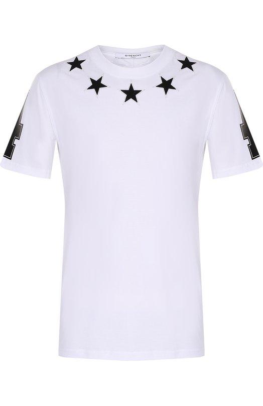 Хлопковая футболка с контрастными нашивками в виде звезд и принтом на рукавах Givenchy 17S/7200/651