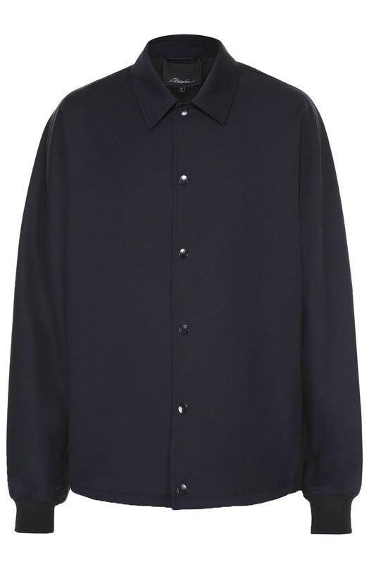Купить Шерстяная рубашка на кнопках свободного кроя 3.1 Phillip Lim, S171-6565LWSM, Китай, Черный, Отделка-вискоза: 84%; Отделка-эластан: 16%; Шерсть: 100%;