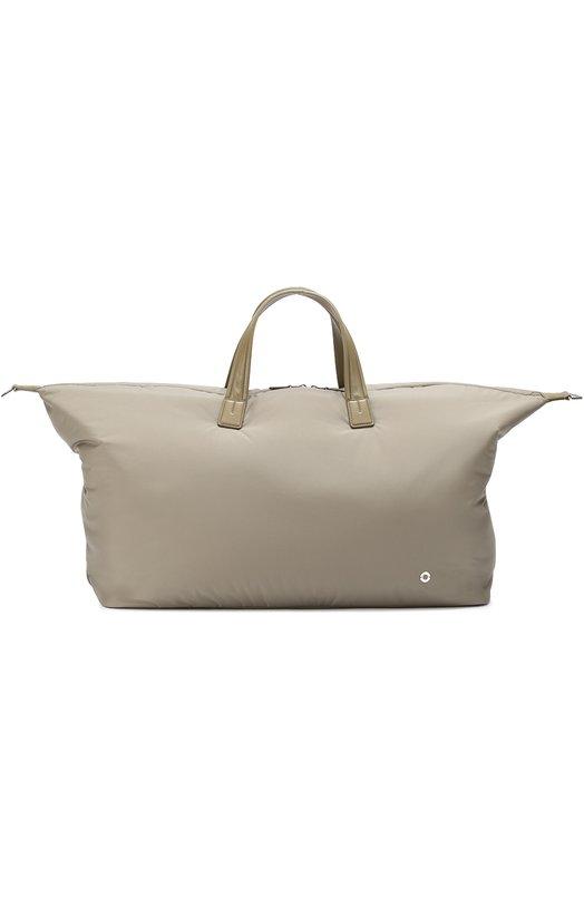Купить Текстильная дорожная сумка с плечевым ремнем Loro Piana, FAF6681, Италия, Оливковый, Текстиль: 85%; Кожа: 15%; Отделка Кожа натуральная: 100%;