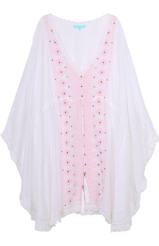 Туника свободного кроя с контрастной вышивкой Melissa Odabash ISABELLE/WHITE/R0SE
