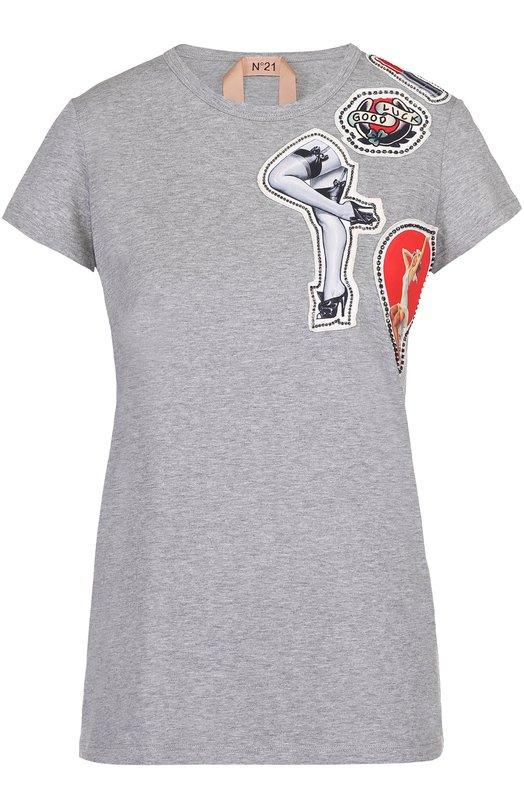 Хлопковая футболка прямого кроя с контрастной отделкой No. 21 N2M/F034/4157